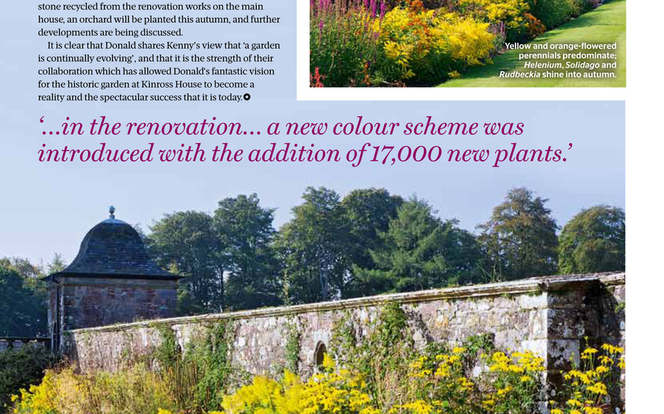 Kinross House Gardens, designed by Alistair Baldwin, The Garden, RHS Magazine September 2016, Page 3