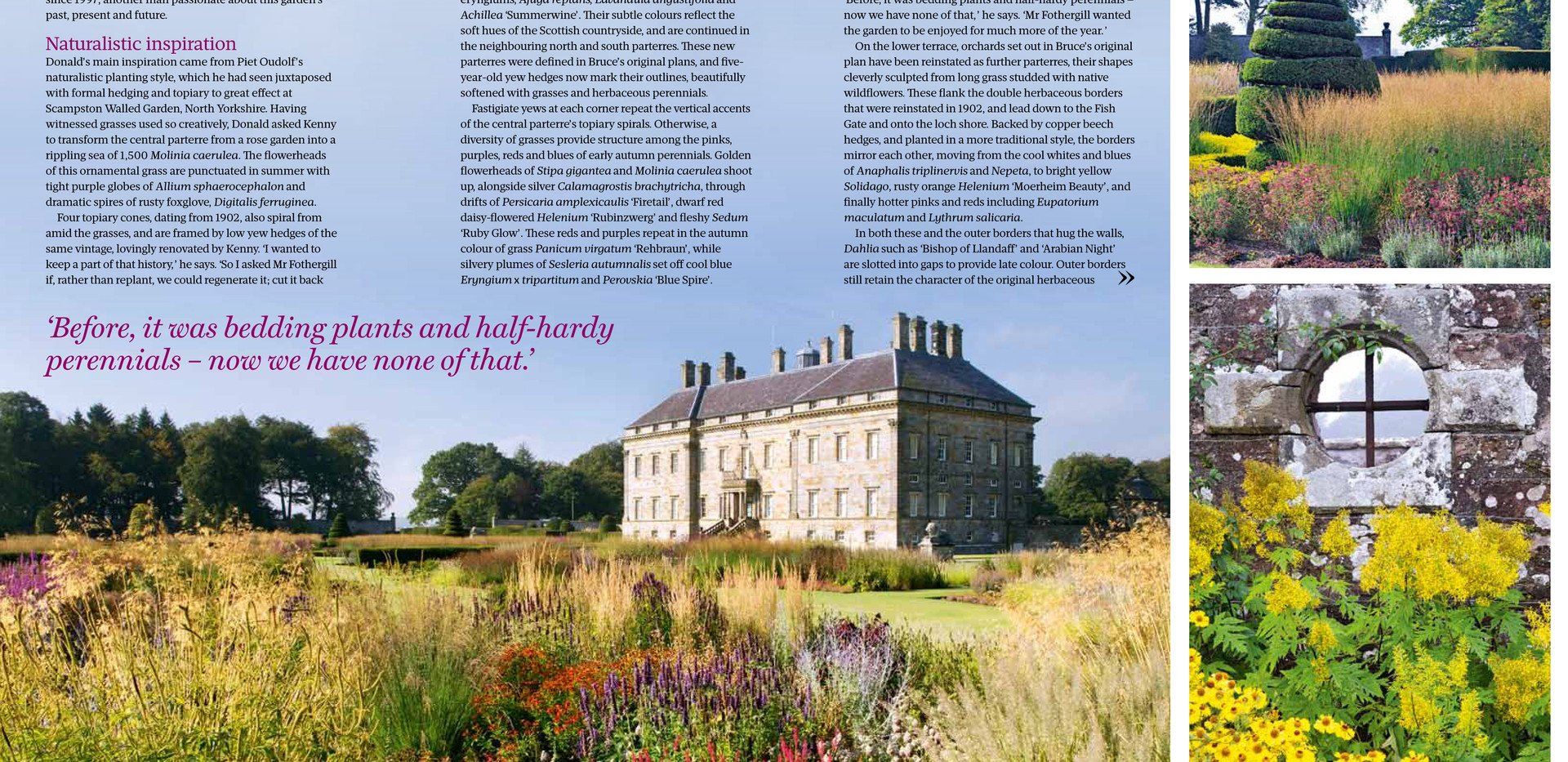 Kinross House Gardens, designed by Alistair Baldwin, The Garden, RHS Magazine September 2016, Page 2