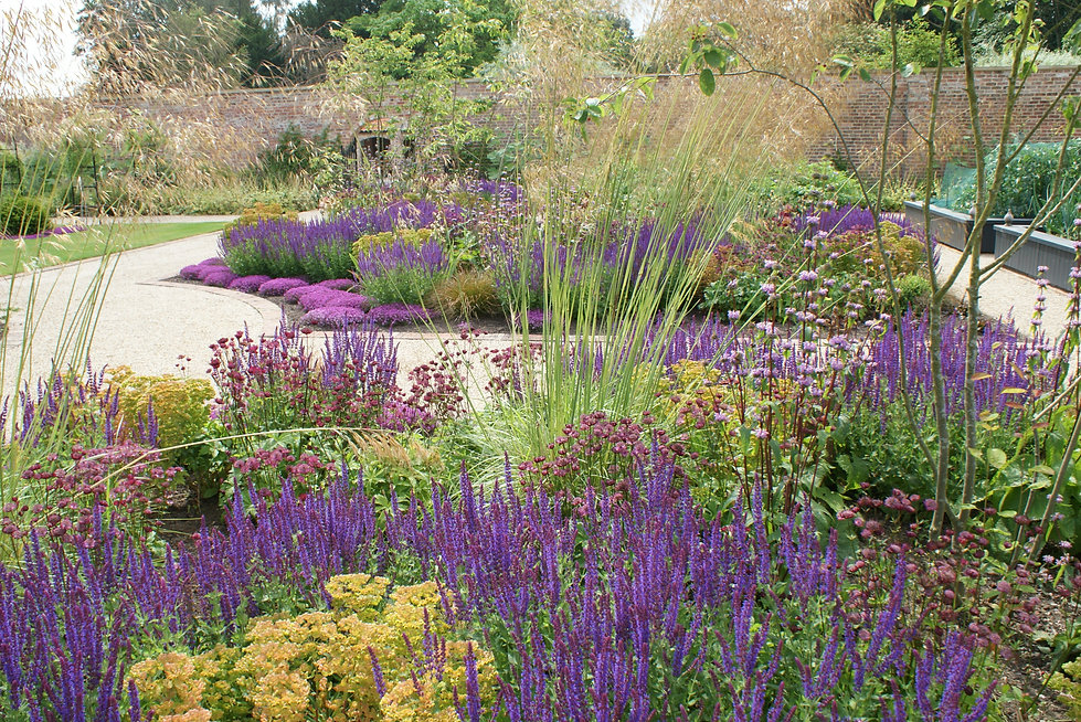 Beautiful and colourful walled kitched garden designed by Alistair Baldwn in Yorkshire