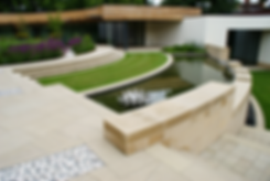 Contemporary roof garden, Harrogate, Jame Bond, water wall and sculpture