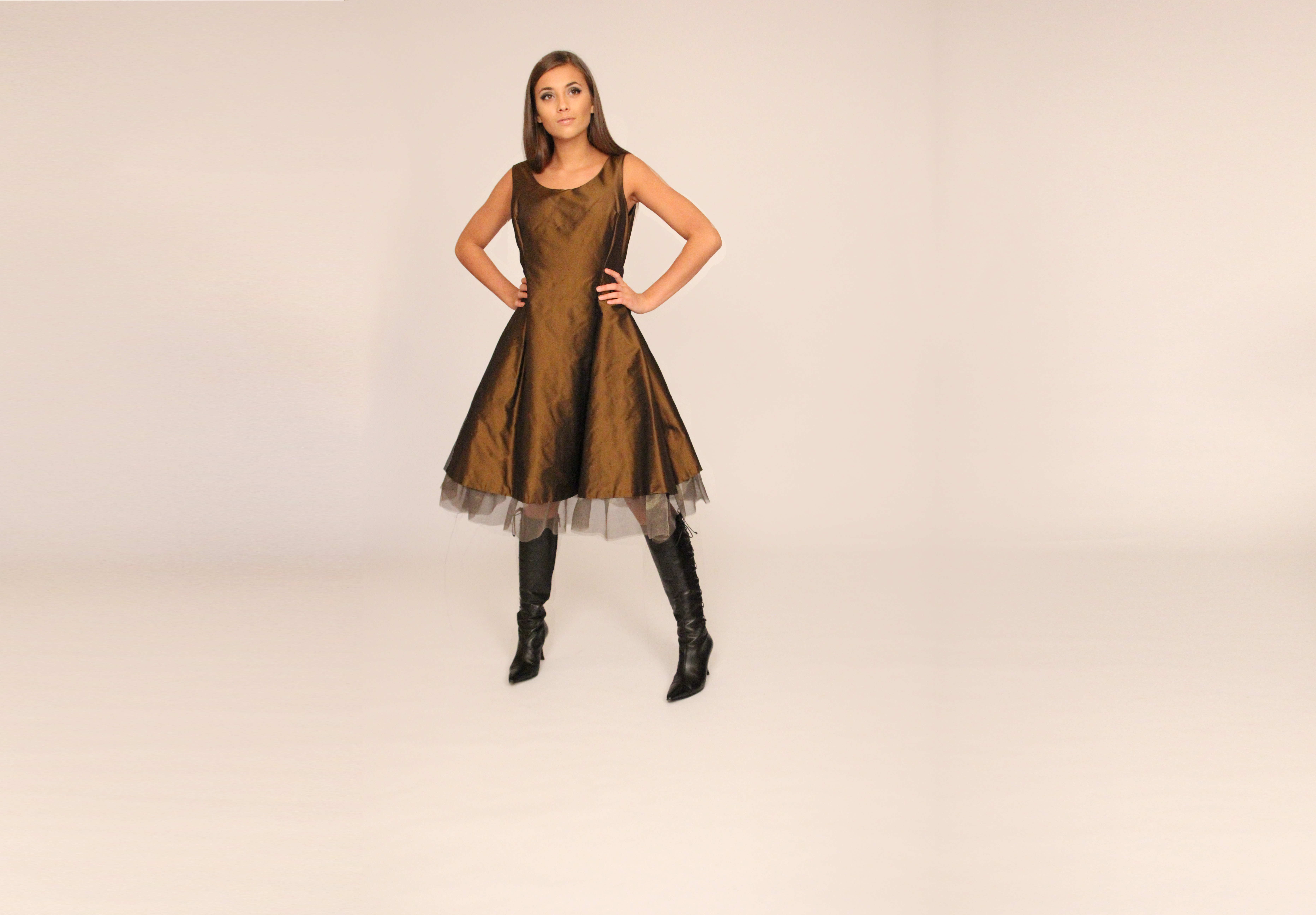 copper taffeta mesh dress front Alexis (