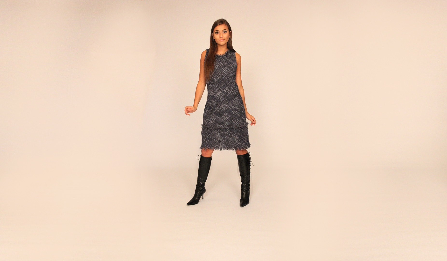 Blue tweed dress