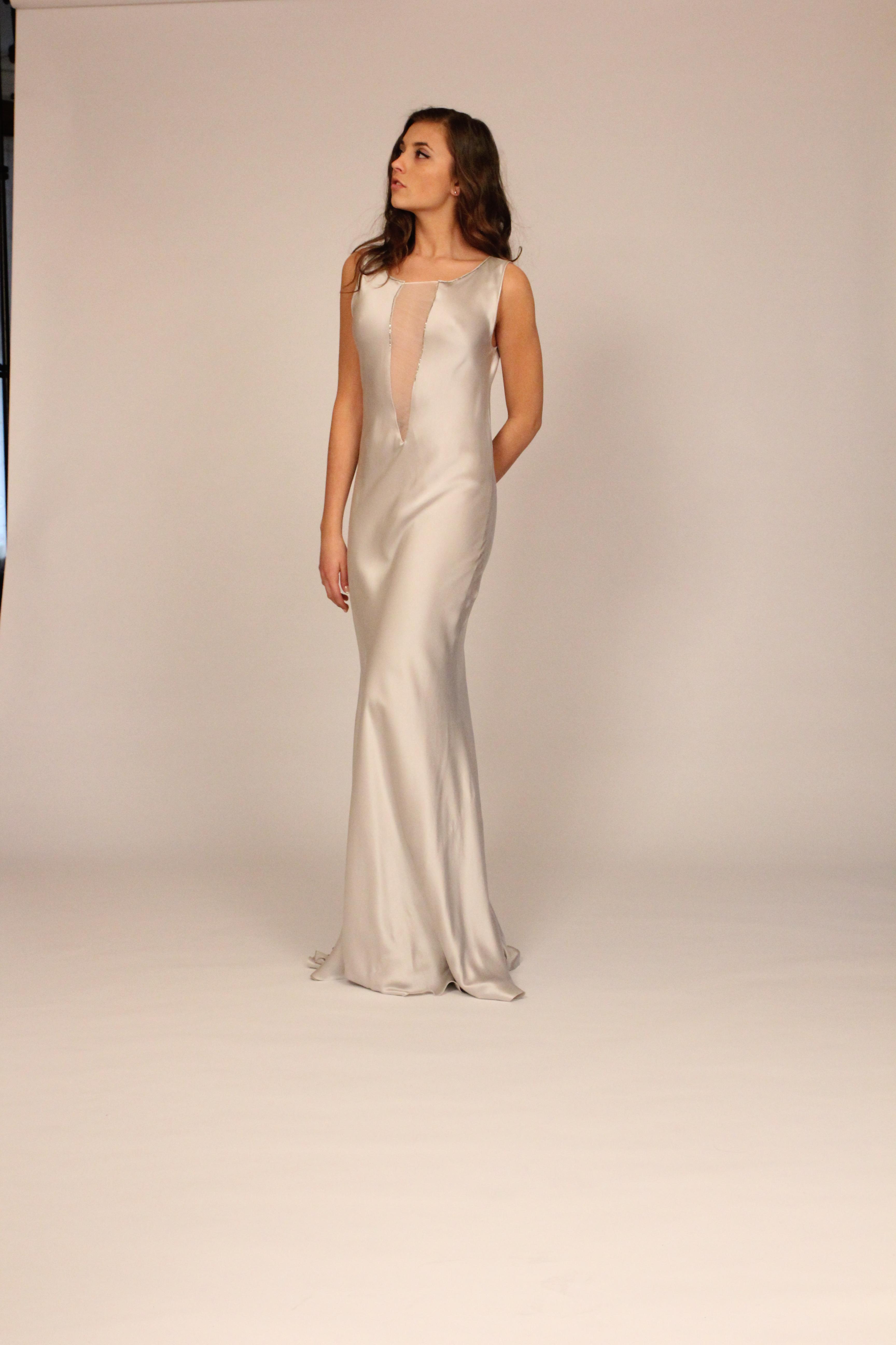silver bias gown nude necklines