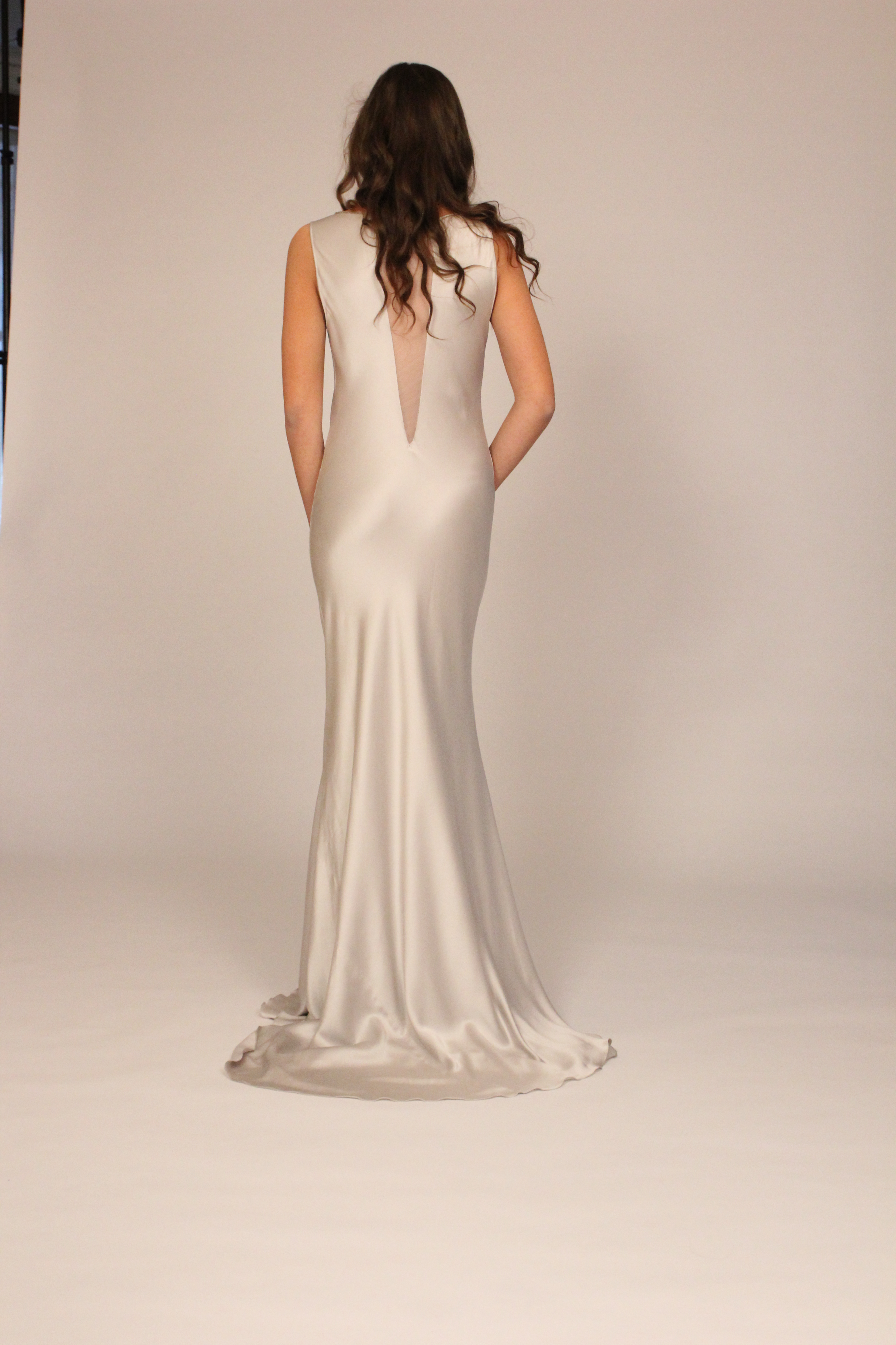 silver bias nude neckline gown back