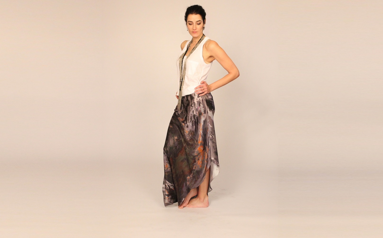 Hand painted silk skirt