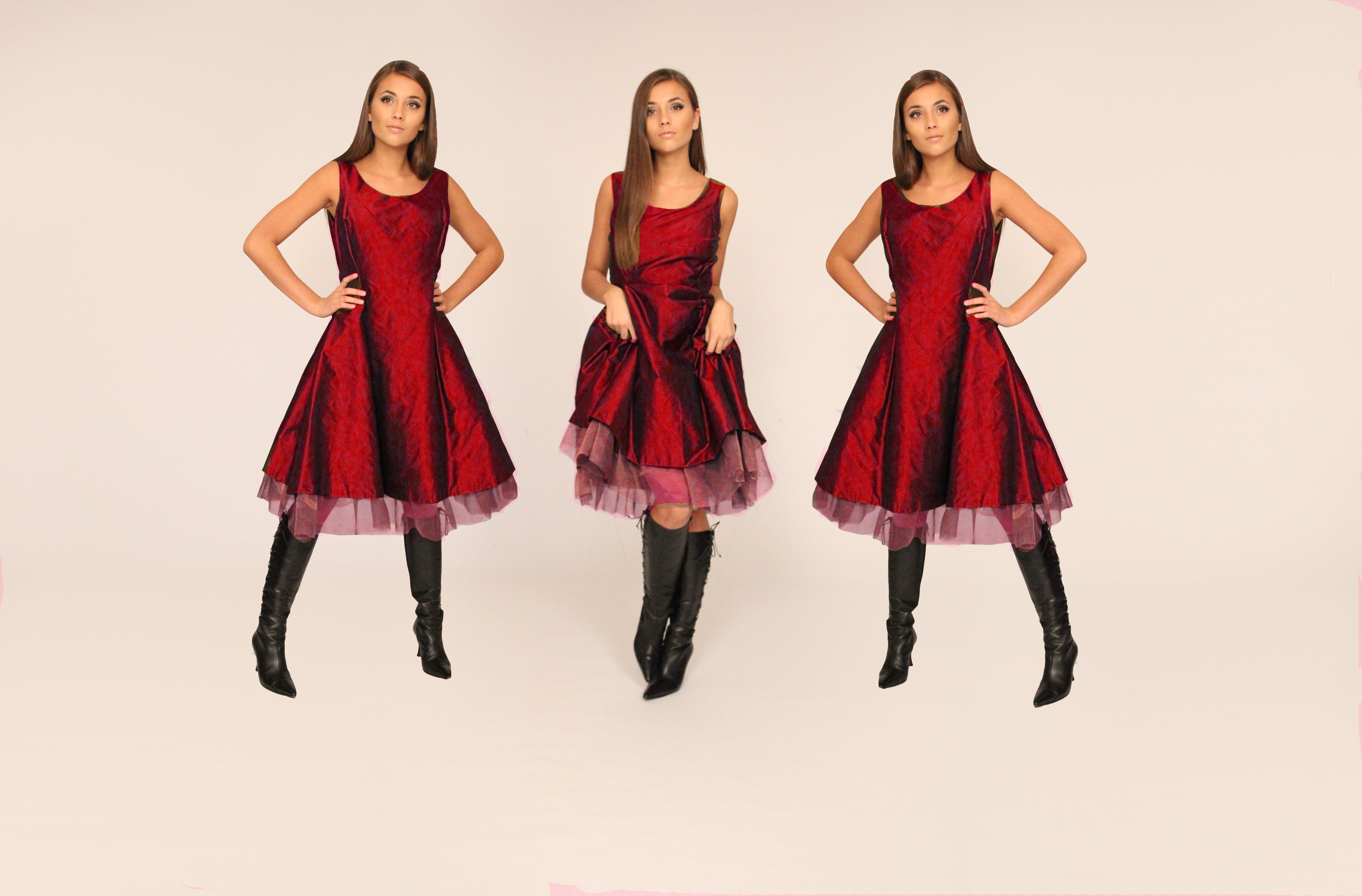 copper RED taffeta mesh dress x3 Alexis