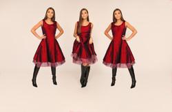 copper RED taffeta mesh dress x3 Alexis