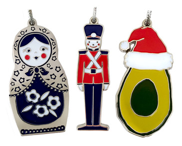 beve studio matryoshka soldier avocado Enamel Oranaments