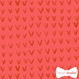 beve studio red V knit on pink