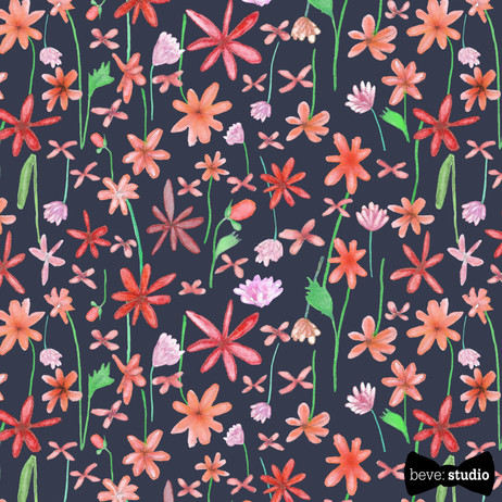 Pink Wildflowers on Navy