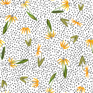 Sunflower and Dot Pattern