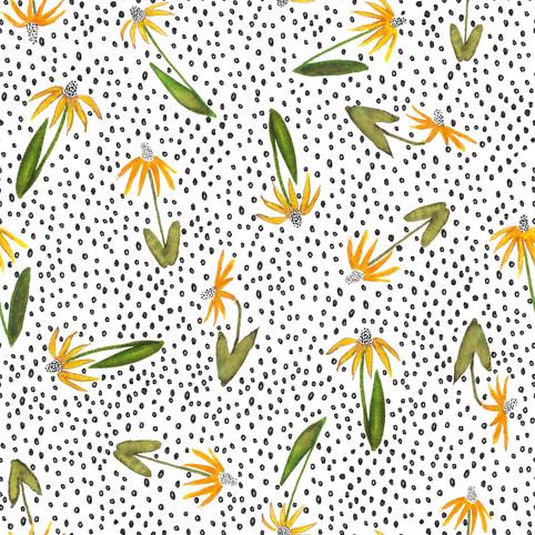 Sunflower and Dot Pattern