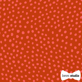 beve studio hot pink on red organic dots