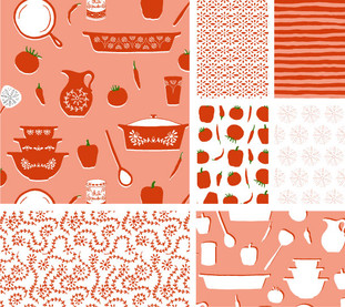 Pyrex and Peppers Bolt Fabric Collection