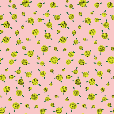 Pink Yellow Pouf Floral Pattern