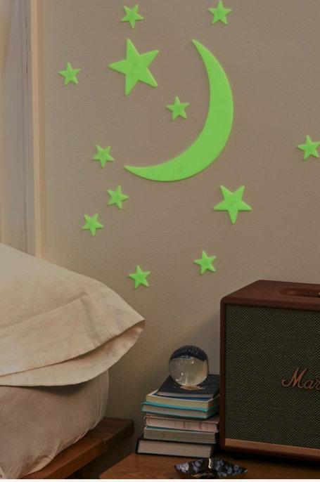 Glow-In-The-Dark Moon + Stars Set