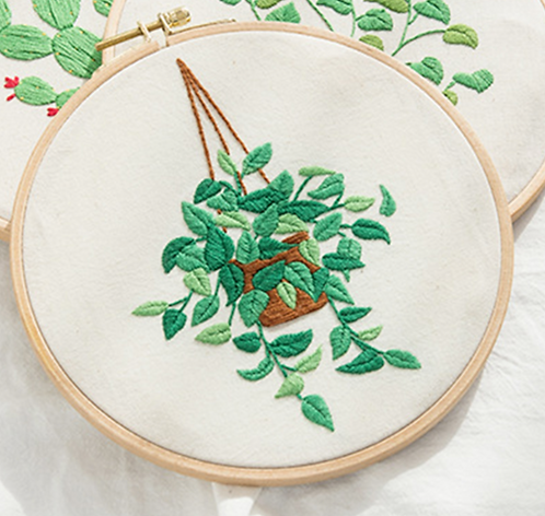 "Embroidery Kit "" Hanging like a green "" 8 """