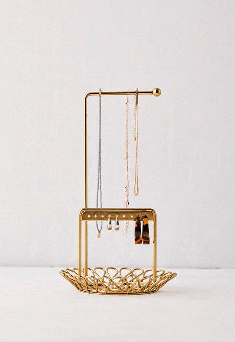 Farrah Metal Loop Jewelry Stand gold