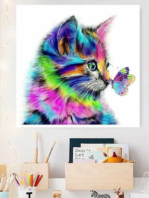 "Diamond Painting ""tecnicolor Cat"" 15 x 15 cm"