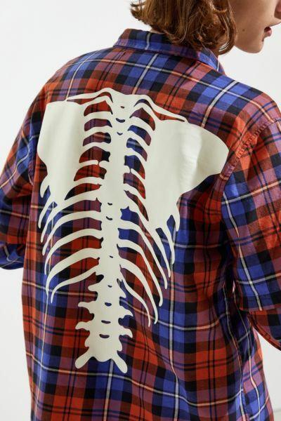 Graphic Flannel Button-Down Shirt - Talla s