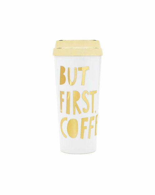 Hot Stuff Thermal Mug -Not Without My Coffee Gold