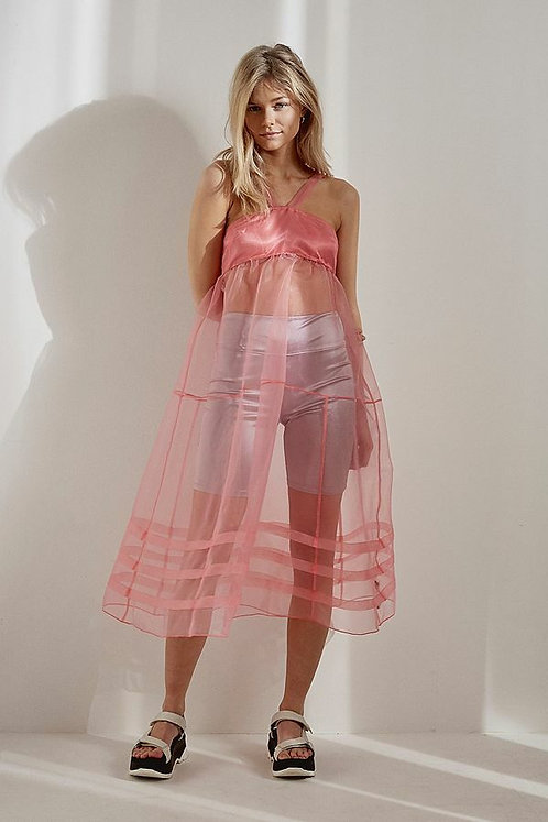 Daphne Sheer Tiered Mini Slip Dress Pink