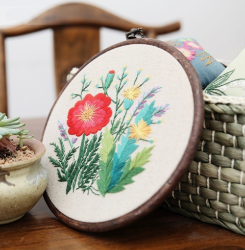 "Embroidery Kit "" Green Fields 3"" 8 ""+ 1 Item sorpresa"