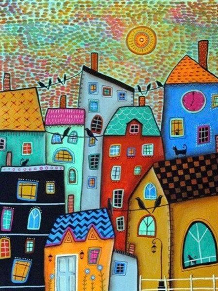 "Diamond Painting "" Old Town "" 30 x 40  cm + 1 surprise item"