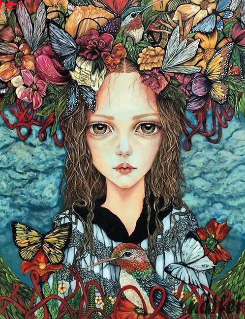 "Diamond Painting "" Butterflies in my head "" 30 x 40  cm + 1 surprise item"