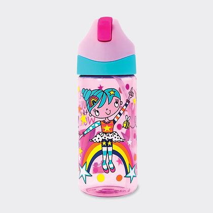 בקבוק שתיה עם קש - ילדה עם קשת