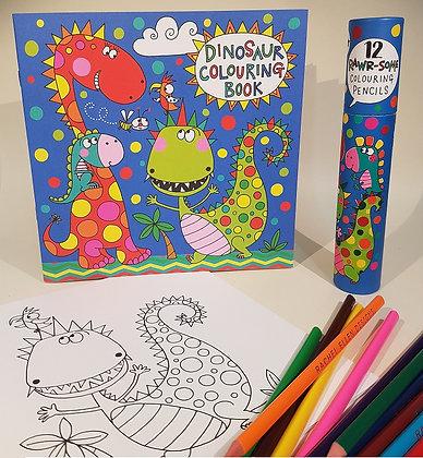חוברת צביעה + 12 עפרונות צבעוניים -  דינוזאורים