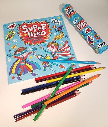 חוברת צביעה + 12 עפרונות צבעוניים -  גיבור על