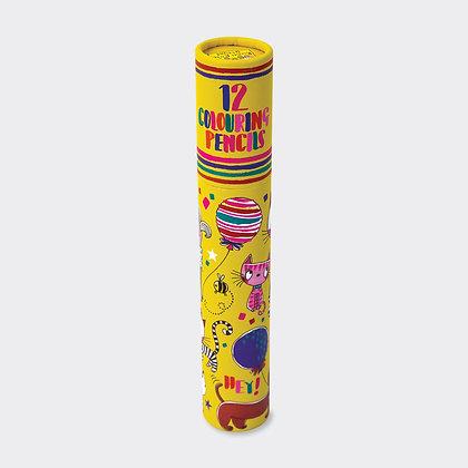 מארז 12 עפרונות צבעוניים - כלבים וחתולים