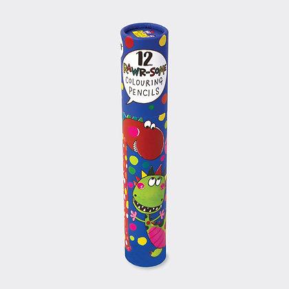 מארז 12 עפרונות צבעוניים - דינוזאורים
