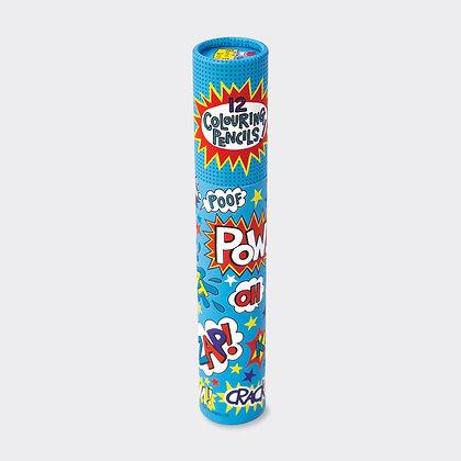 מארז 12 עפרונות צבעוניים - גיבורי על