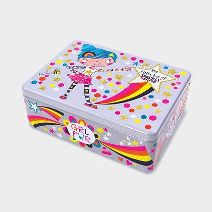 קופסת פח מלבנית - ילדה עם קשת