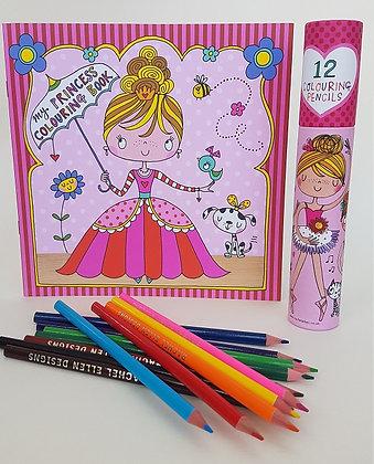 חוברת צביעה + 12 עפרונות צבעוניים -  נסיכה