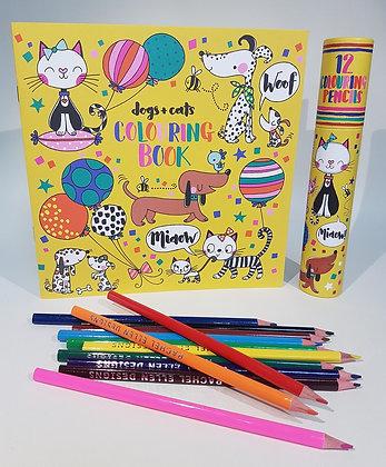 חוברת צביעה + 12 עפרונות צבעוניים - כלבים וחתולים