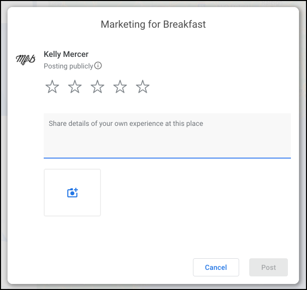 Screenshot Image of Google Review Form