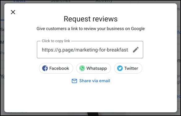 "Screenshot Image of Pop-up Window that said ""Request Reviews"""