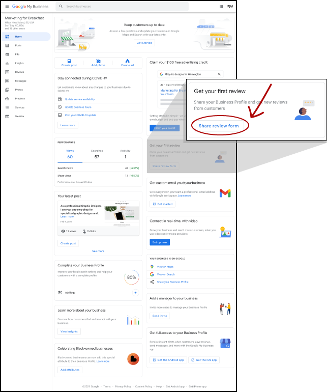 Screenshot Image of Google My Business Dashboard for Marketing for Breakfast