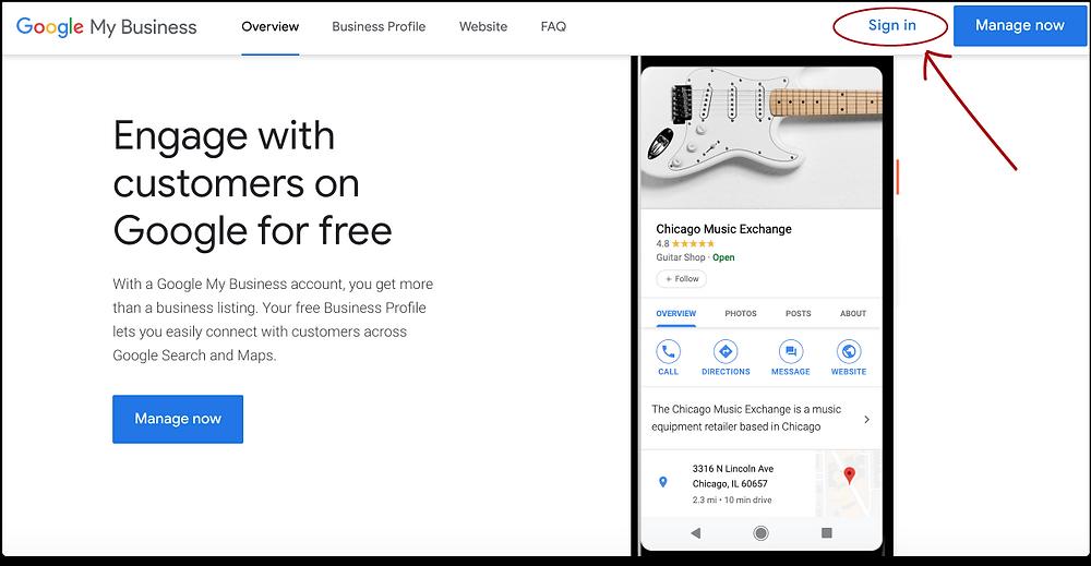 Screenshot Image of Google My Business website