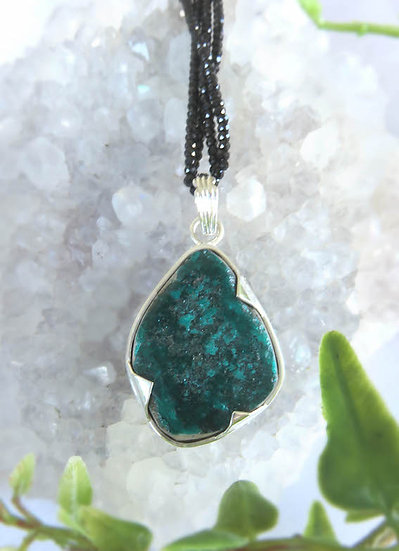 DIOPTASE & BLACK TOURMALINE NECKLACE