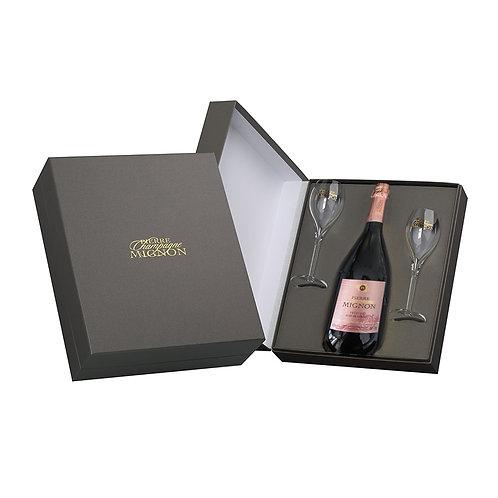 Pierre Mignon - Prestige Rosé de Saignée met luxe giftbox en flûtes