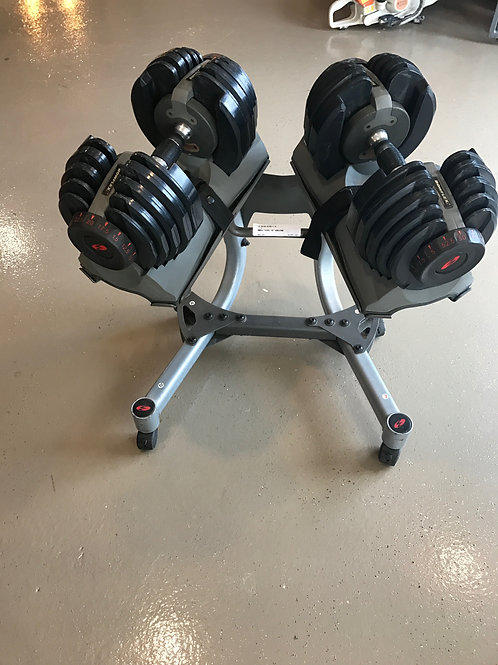 Bowflex adjustable dumbell set and stand