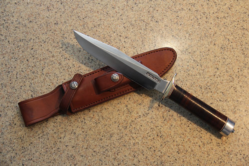 "Randall made 7"" fighting knife and leather case"