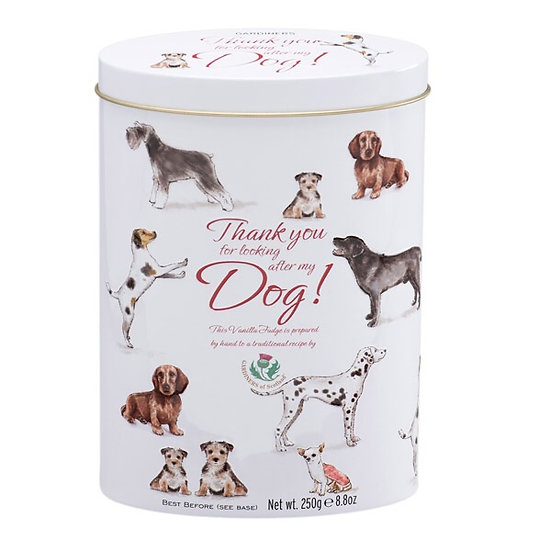"""""""Thank you for looking after my Dog"""" Fudge Tin"""