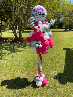 Pink Silver Balloon Pole 2021