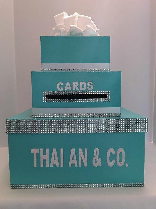 3 Tier Aqua Blue Wedding Card Box Tiffany Style