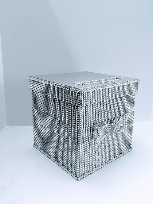 Silver Diamond Wedding Card Box,Bling Box, Money Holder, Advice Box, Sweet 16,Re